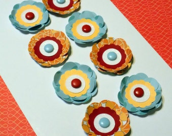 1.5 Inch Paper Flower Embellishments Red Orange and Blue.