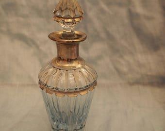 Antique baby blue cut glass perfume bottle