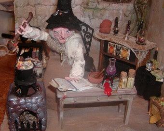 """OOAK Halloween Prop/Witch At Home""""Witchable""""/Diorama"""