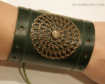Leather bracelet - also available in brown and black- statement jewelry