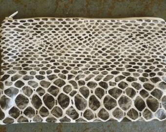 linen pouch pattern imitating snake zipper skin