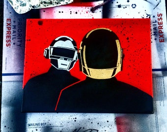 Daft Punk Art Painting Canvas Red Gold Silver Music