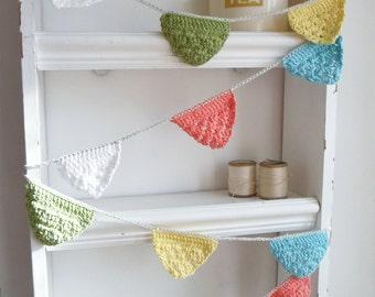 Crochet Grannies Garland (spring Colours)