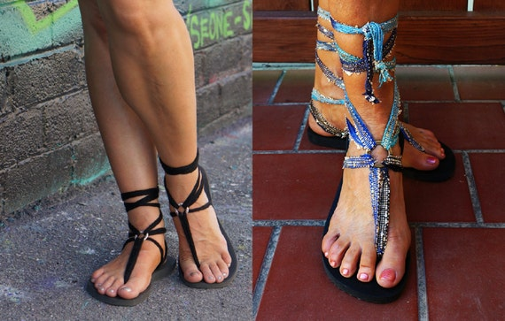 pair and Caribbean black Two ombre of classic interchangeable gladiator sandals laces included blue 8fww1Tx