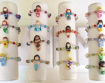 Custom Handmade Princess Bracelet, Princess bracelet, U CHOOSE swarovski crystal girls kids boutique birthday keepsake bracelet jewelry gift