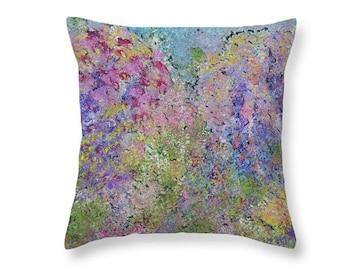 Pastel Hydrangea Throw Pillows, Floral Abstract Design
