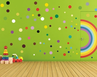 Polka dot stickers, peel and stick vinyl wall stickers, wall art, decals - 17 to 200 dots per set - WS1029