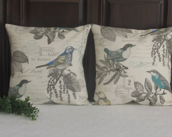 French Country Pillow covers, 16 x 16 Toss Pillow, Vintage Pillow covers, Bird Pillow Cover, Throw Pillows, Sofa Pillow, French Country
