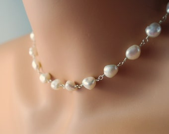Keshi Pearl Necklace, White Natural Genuine Freshwater, Classic Choker, Elegant Bridal Wedding, Sterling Silver Jewelry, Free Shipping