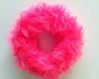Bright Neon Pink Hair Scrunchie