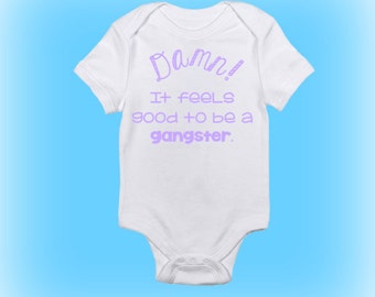 Unique Baby Shower Gift - Damn it Feels Good to be a Gangster Onesie®- Funny Baby Onesie - Baby Gift Idea-Baby Boy - Baby Girl-Baby Clothing