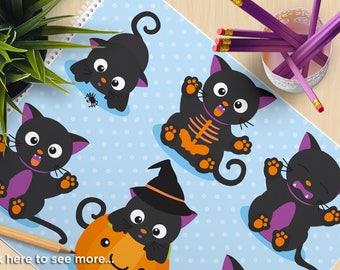 Clipart - Halloween, Scaredy Cat, kittens, Halloween pumpkin, witch hat, spider, skeleton SVG Vector Clipart