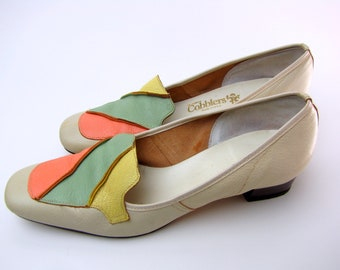 Vintage 1960s  Leather Loafers | Pumps | Square Toe | Mod | Cobblers | Pastel | Pink, Green, Yellow | Size 7-7 1/2