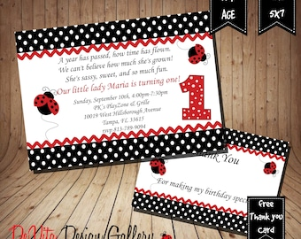 Ladybug Birthday Invitation Printable  5x7 or 4x6 and FREE Thank You Card Printable 5x3.5, Ladybug Printable, Ladybug Party