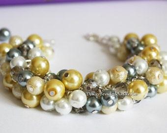 Yellow Bracelet Gray Cluster Bracelet Jewelry for Bridesmaid Bracelet Pearl Jewelry Bridesmaid Gift Maid of Honor  on Sale