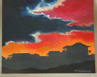 "Sunset Clouds and Houses Original Acrylic Painting 8"" x 10"""