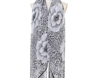 Womens Scarf, Black Scarf, Leopard Print Scarf, Floral Print Scarf,  Fashion Scarf, Chiffon Scarf, Voile Scarf, Cotton Scarf