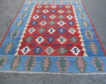 free shipping VINTAGE TURKİSH ousak kilim Anatolian handwoven kilim rug decorative kilim - SİZE : 80'' X 120'' ( 200 cm X 300 cm)