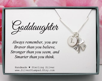 Goddaughter Gift for God daughter necklace sterling silver initial shamrock necklace unique personalized birthday gift Valentine's Day  gift