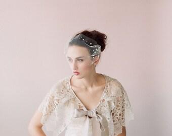 Bridal bandeau pearl veil, tulle mini veil - Pearl adorned tulle bandeau veil - Style 427 - Ready to Ship