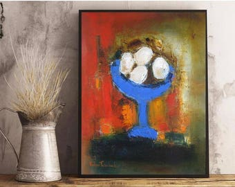 """Modern Still Life oil on canvas 18""""x24"""" bright red blue white and mustard yellow multicolor painting original art loft kitchen wall decor"""
