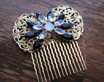 Flower hair comb | gold hairpiece | brass filigree | art nouveau | decorative comb