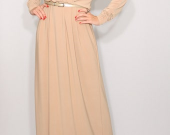 Beige maxi dress Long sleeve dress Batwing dress for women