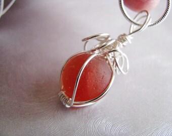 Sea Glass Marble Pendant - Rare Orange Red Melon Coral - Sea Glass Pendant - Beach Glass Jewelry