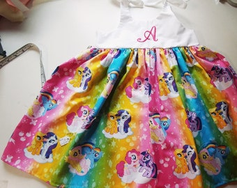My little pony dress, girls monogrammed my little pony inspired dress, birthday outfit , personalized, my little pony outfit, gift,
