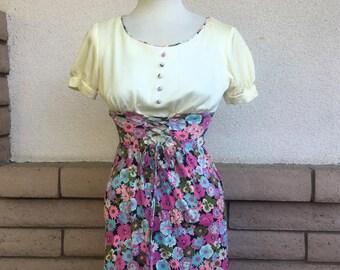 SALE Vintage 70s Babydoll Corset Dress Floral Print Mini Size XS-S