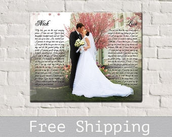 Canvas Vows - Wedding Vows canvas - 1st anniversary Canvas - Photo on Canvas - Canvas Print - 1st Anniversary Gift