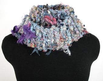 Hand Knit Fiber Art Scarf of Handspun Art Yarn, OOAK - Item 1205