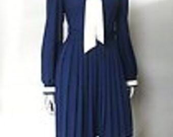 Vintage 1980S does 1940s Navy Nautical Edge Ascot Tie Dress Size S/M