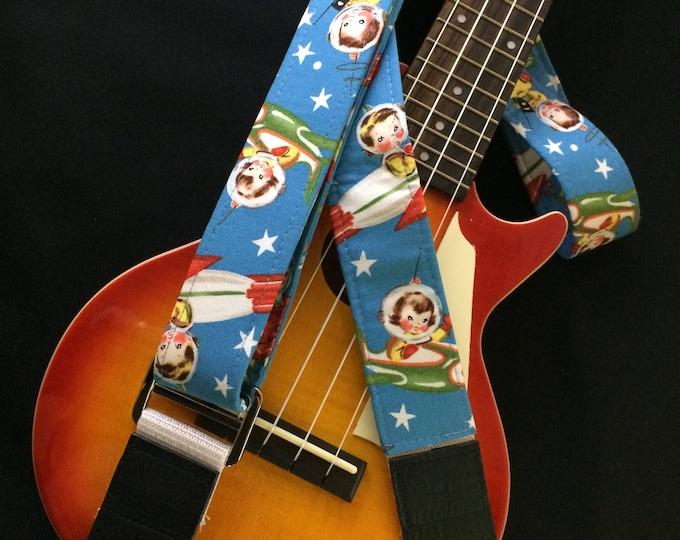 Ukulele strap, mandolin strap or child guitar strap // handmade retro nostalgia space babies // unique cool musician gift or teacher gift