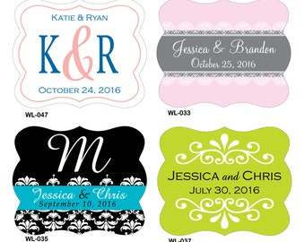 200 - 2 x 1.625 inch Die Cut Custom Glossy Waterproof Wedding Stickers Labels - hundreds of designs to choose - change designs to any color