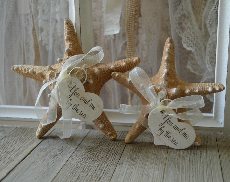 starfish beach themed wedding ring holder ring bearer tan