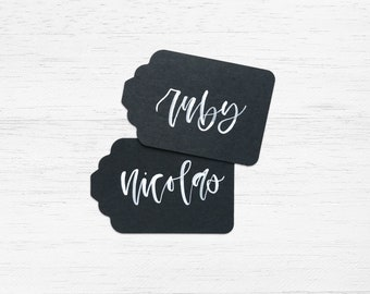 Black Handwritten Gift Tags with White Ink Writing for Wedding or Event // Modern Calligraphy, Black Gift Tags, Chalkboard Wedding Tags