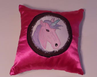 Pink Satin Unicorn Cushion