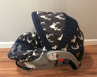 Navy Blue & Twilight STAG buck deer head sillouett baby infant carseat cover with free monogram