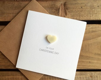 On Your Christening Day with Ivory detachable Heart magnet keepsake