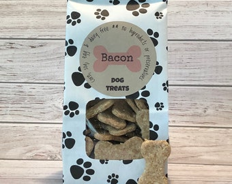Homemade Bacon Dog Treats - Hand Cut - 5 oz paw print bags