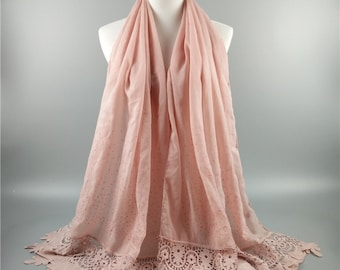 elegant embroidered lace scarf
