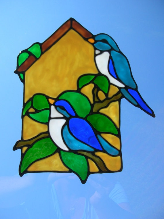 spring birds outside birdhouse stained glass window cling. Black Bedroom Furniture Sets. Home Design Ideas