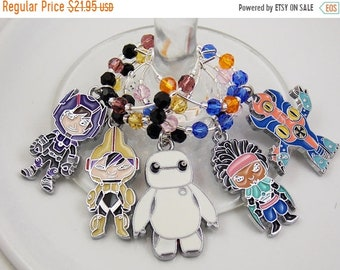 Big Hero 6 inspired wine glass charms set of 5 charms handmade wine charms party favors zipper pulls backpack decoration