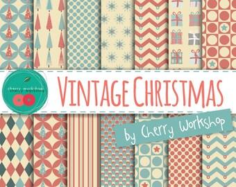 """Christmas Digital Paper Vintage Style """"Vintage Christmas"""" Digital Paper Pack for cards, invites, decor, scrapbook INSTANT DOWNLOAD"""