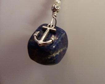 Lapis Lazuli Pendant Necklace with  anchor charm