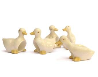 Vintage French Ceramic Duck Napkin Rings. White Serviette Holders.