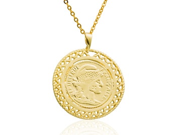 Coin Necklace 1 inch France republic 1912  -Gold filled 14K pendant, coin pendant vintage style pendant