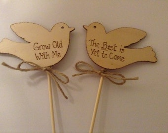 Wedding Vow Renewal Cake Topper Love Birds Grow Old with Me