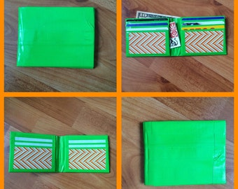 Green and Orange Duct Tape Wallet